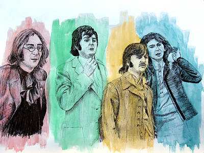 The Beatles, 1968, Mixed Media Original by Ron Enderland