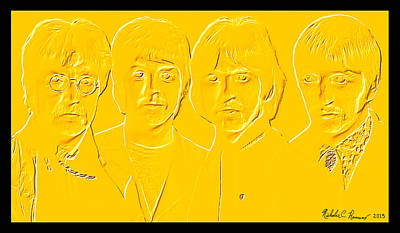 The Beatles 24 Kt Gold 2 Print by Nicholas Romano