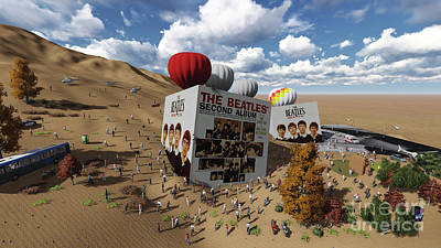 Beatles Mixed Media - The Beatles Cubes On Desert by Pablo Franchi