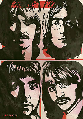 John Lennon Mixed Media - The Beatles Pop Stylised Art Sketch Poster by Kim Wang