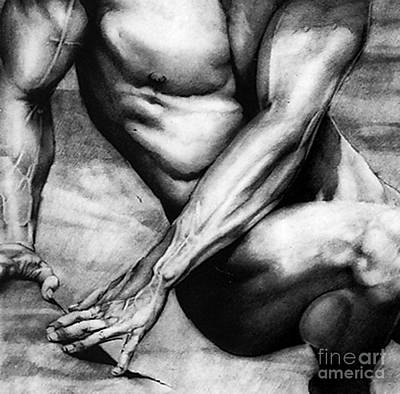 Male Nude Drawing Drawing - The Beauty Of A Nude Man by RjFxx at beautifullart com
