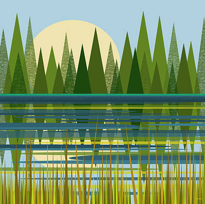 Beaver Digital Art - The Beaver Pond by Val Arie