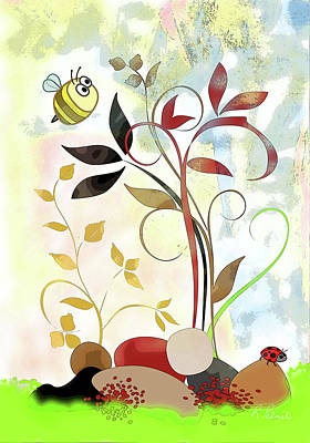 Ladybug Mixed Media - The Bee And The Ladybug by Ruth Palmer