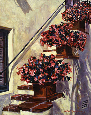 Hotel Painting - The Begonia Stairs by David Lloyd Glover