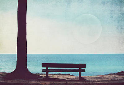 The Bench By The Sea Print by Heike Hultsch