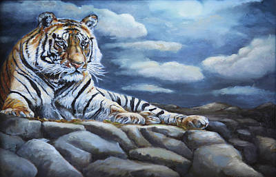 India Wildlife Painting - The Bengal Tiger by Enzie Shahmiri