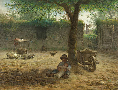 Drawing - The Big Brother by Jean Francois Millet