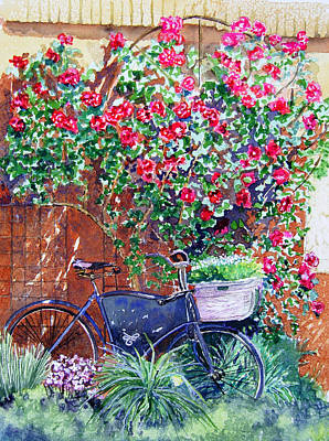 The Bike At Bistro Jeanty Napa Valley Print by Gail Chandler