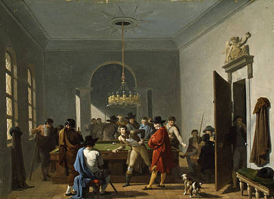 The Billiard Room Print by Nicolas-Antoine Taunay