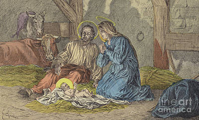 Donkey Drawing - The Birth Of Jesus Christ  by French School