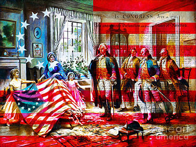 George Washington Digital Art - The Birth Of Old Glory With Flag And The Declaration Of Independence 20150710 by Wingsdomain Art and Photography