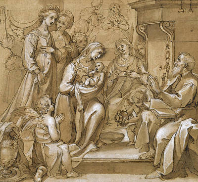 Drawing - The Birth Of Saint John The Baptist by Ventura Salimbeni