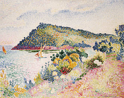 Riviera Painting - The Black Cape Pramousquier Bay by Henri-Edmond Cross