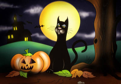 Pumpkin Drawing - The Black Cat by Alessandro Della Pietra