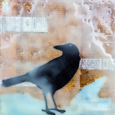 Crow Mixed Media - The Black Crow Knows Mixed Media Encaustic by Edward Fielding