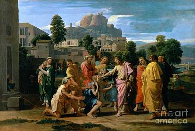 The Blind Of Jericho Print by Nicolas Poussin
