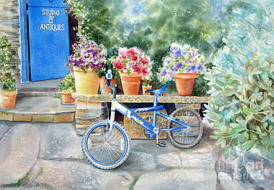 The Blue Bicycle Print by Deborah Ronglien