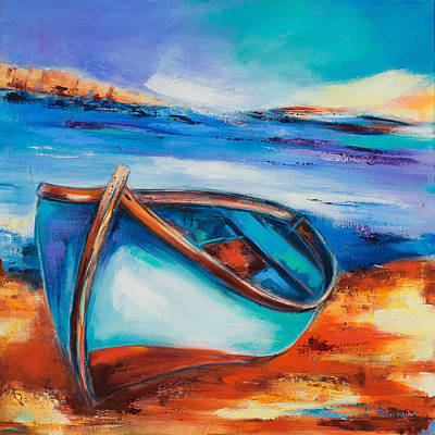 Lonely Painting - The Blue Boat by Elise Palmigiani