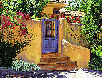 Tile Painting - The Blue Door by David Lloyd Glover