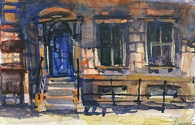Boston Painting - The Blue Door, New York by Kristina Vardazaryan