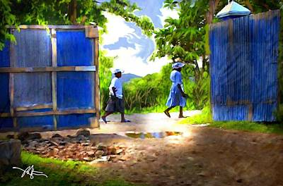 Impressionism Digital Art - The Blue Gate by Bob Salo