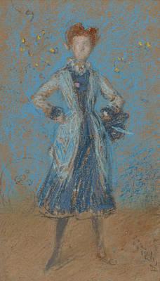 Tonalist Pastel - The Blue Girl by James Abbott McNeill Whistler
