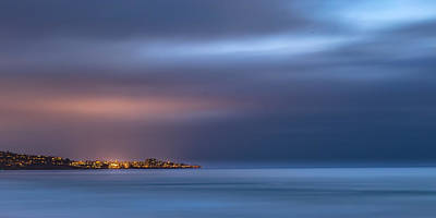 Storm Clouds Sunset Twilight Water Photograph - The Blue Jewel - La Jolla by Peter Tellone