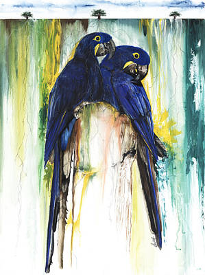 African American Artist Mixed Media - The Blue Parrots by Anthony Burks Sr