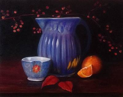 Water Pitcher Painting - The Blue Pitcher by Anne Barberi