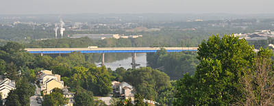 The Blue Route 476 Bridge Over The Schuylkill River West Conshoh Print by Bill Cannon