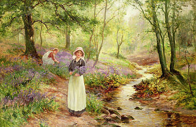 Park Scene Painting - The Bluebell Glade by Ernest Walbourn