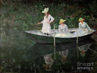 The Boat At Giverny Print by Claude Monet