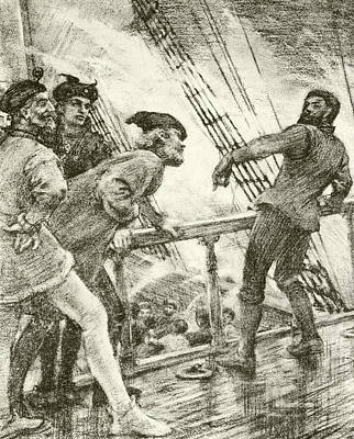 Water Play Drawing - The Boatswain by Henry Scott Tuke