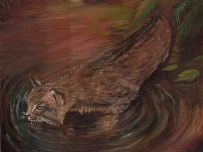 Cat Painting - The Bob Cat by Lorenzo Calderon