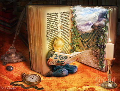 Candle Lit Mixed Media - The Book Of Magic by Eugene James