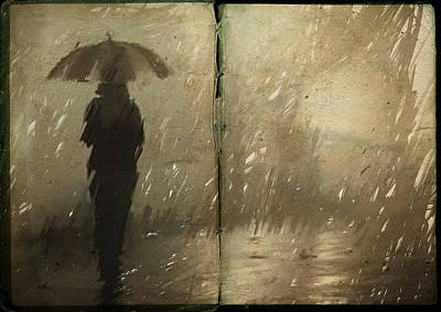 Umbrella Drawing - The Book Of Rain by H James Hoff