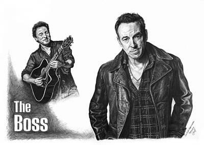 The Boss - Bruce Springsteen Print by Iren Faerevaag