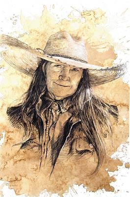 Ranching Drawing - The Boss by Debra Jones