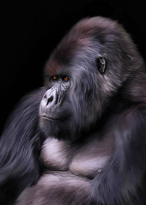 Ape Digital Art - The Boss by Julie L Hoddinott