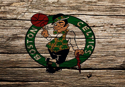 Larry Bird Mixed Media - The Boston Celtics W1 by Brian Reaves