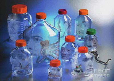 Digital Art - The Bottle Heads by Joseph Juvenal