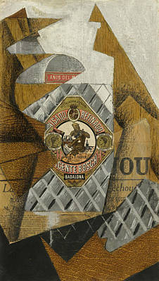 Bottle Painting - The Bottle Of Anis Del Mono by Juan Gris