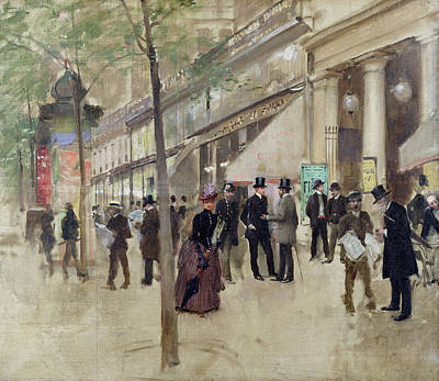 Umbrella Painting - The Boulevard Montmartre And The Theatre Des Varietes by Jean Beraud