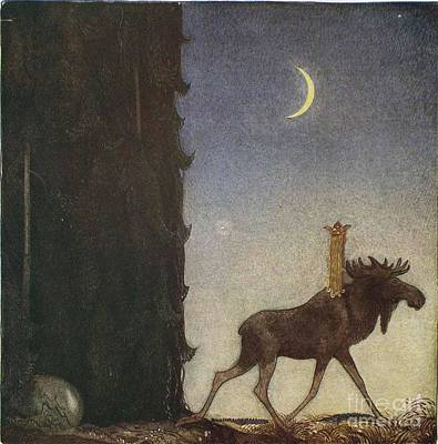 Illustration Painting - the boy and the trolls or The Adventure by John Bauer