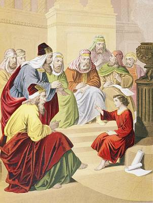 Bible Drawing - The Boy Jesus Debating With Priests And by Vintage Design Pics