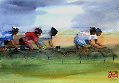 Cyclist Painting - The Breakaway by Shirley  Peters