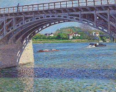 Iron Painting - The Bridge At Argenteuil And The Seine by Gustave Caillebotte