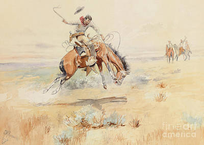 The Horse Painting - The Bronco Buster by Charles Marion Russell