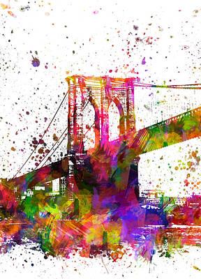 Brooklyn Bridge Digital Art - The Brooklyn Bridge 04 by Aged Pixel