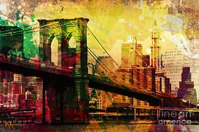 Nyc Digital Art - The Brooklyn Bridge by Maria Arango